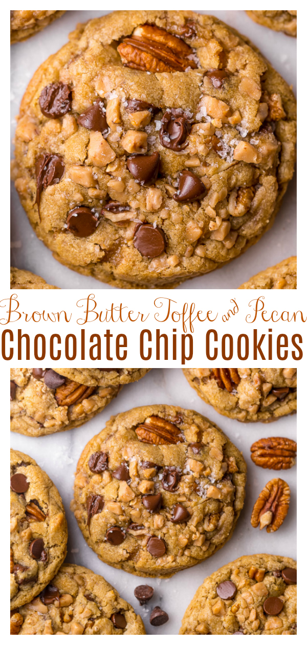 The only thing better than a chocolate chip cookie? A brown butter chocolate chip cookie that's loaded with toffee pieces, toasted pecans, and a touch of cinnamon. Trust me, once you try these brown butter toffee cookies, you'll never want to use another recipe again!