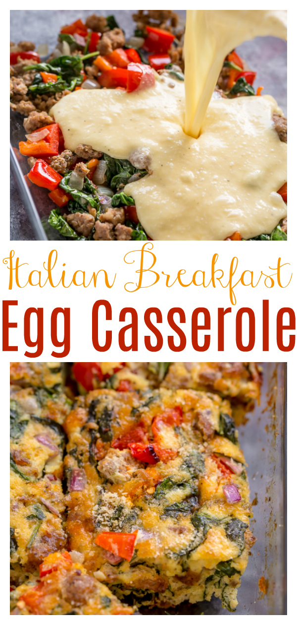 This Quick and Easy Overnight Italian Breakfast Casserole is perfect for weekend brunch, Christmas morning, or breakfast for dinner! Made with lots of veggies and Italian sausage, it's so flavorful and delicious! Serve warm or cold!