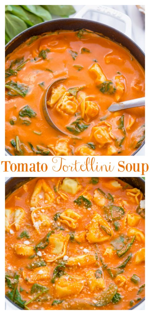 This Creamy Tomato Tortellini Soup is so easy and always a crowd-pleaser! Perfect for those chilly nights when you need a little comfort food in your life! Top with plenty of Parmesan cheese and serve with crusty Italian bread (and maybe a glass of red wine...) for an extra tasty meal!