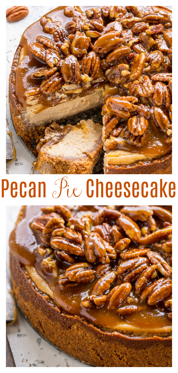 If you love pecan pie, you HAVE to try Pecan Pie Cheesecake! Featuring a crunchy pecan crust, creamy brown sugar cheesecake filling, and gooey pecan pie topping, this is the ultimate holiday dessert! This crowd-pleasing dessert will leave your friends and family hailing you a baking genius!
