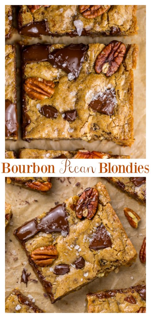 Brown Butter Bourbon Pecan Chocolate Chunk Blondies are chewy, crunchy, and loaded with gooey pockets of chocolate! The bourbon gives them a subtle kick without being overpowering! This easy and crowd-pleasing dessert recipe is perfect for holiday parties! And don't worry about the bourbon getting you tipsy... it's only a small amount and cooks out during the baking process.