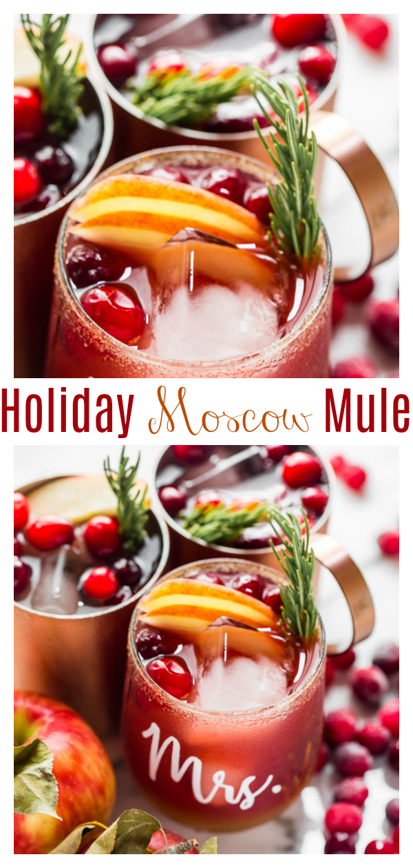 This SUPER Easy Cranberry Apple Moscow Mule recipe is perfect for Thanksgiving... or anytime you want a fun Fall cocktail! Made with apple cider, cranberry juice, ginger beer, and bourbon, this drink comes together in seconds. And it's so refreshing! We can't get enough!