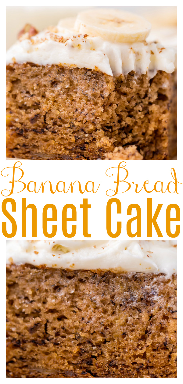 Do you have a ton of overly ripe bananas? And do you want to bake something with them other than banana bread? Then bust out your sheet pan and try this simple banana sheet cake recipe! Loaded with banana flavor and topped with tangy cream cheese frosting! Our family absolutely loved this banana cake recipe!