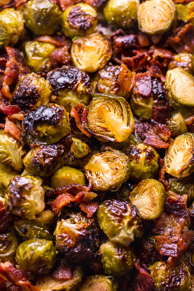 Crispy Honey Mustard Brussels Sprouts with Bacon