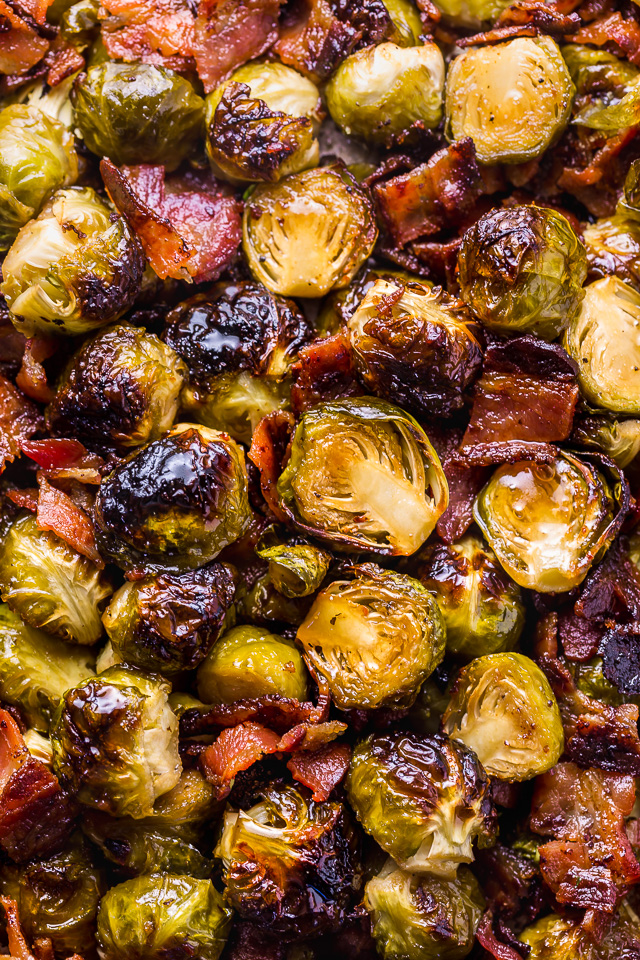 No one will complain about eating their veggies when you're serving these Crispy Honey Mustard Brussels Sprouts with Bacon!These roasted sprouts are coated in homemade honey mustard sauce and then tossed with crispy bacon. One of my go-to side dishes for Thanksgiving!