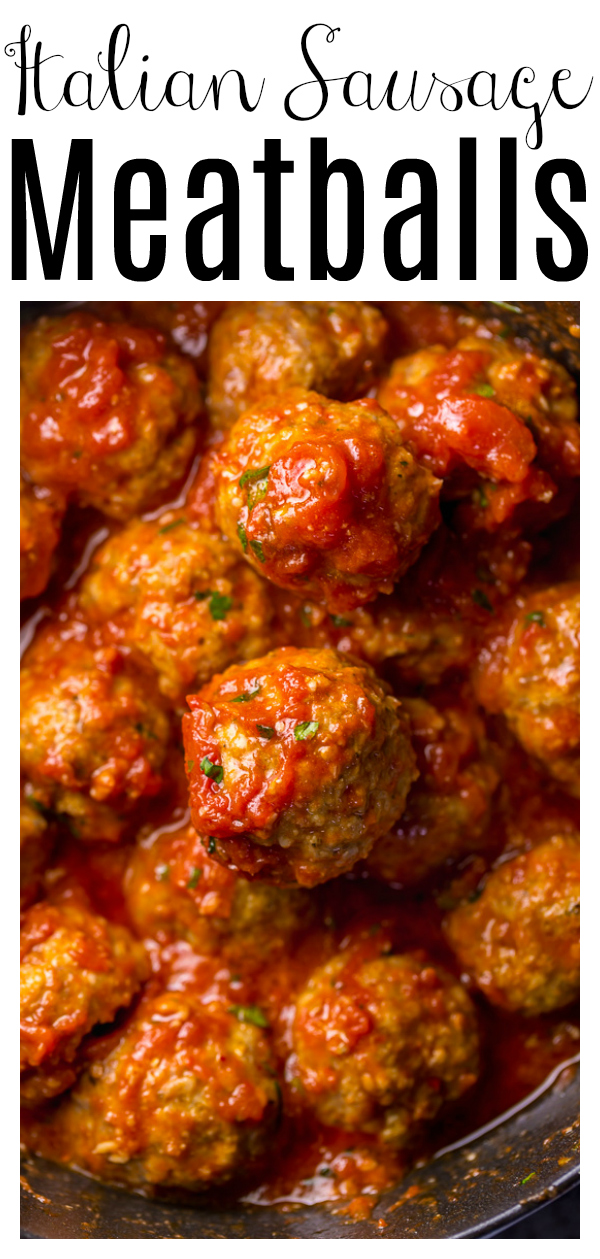 These Easy Italian Sausage Meatballs are juicy and so flavorful! This is a great recipe for serving a crowd! Simply roll, bake, and serve with your favorite sauce! These homemade meatballs are delicious on rolls, salads, or toss with pasta for classic spaghetti and meatballs!