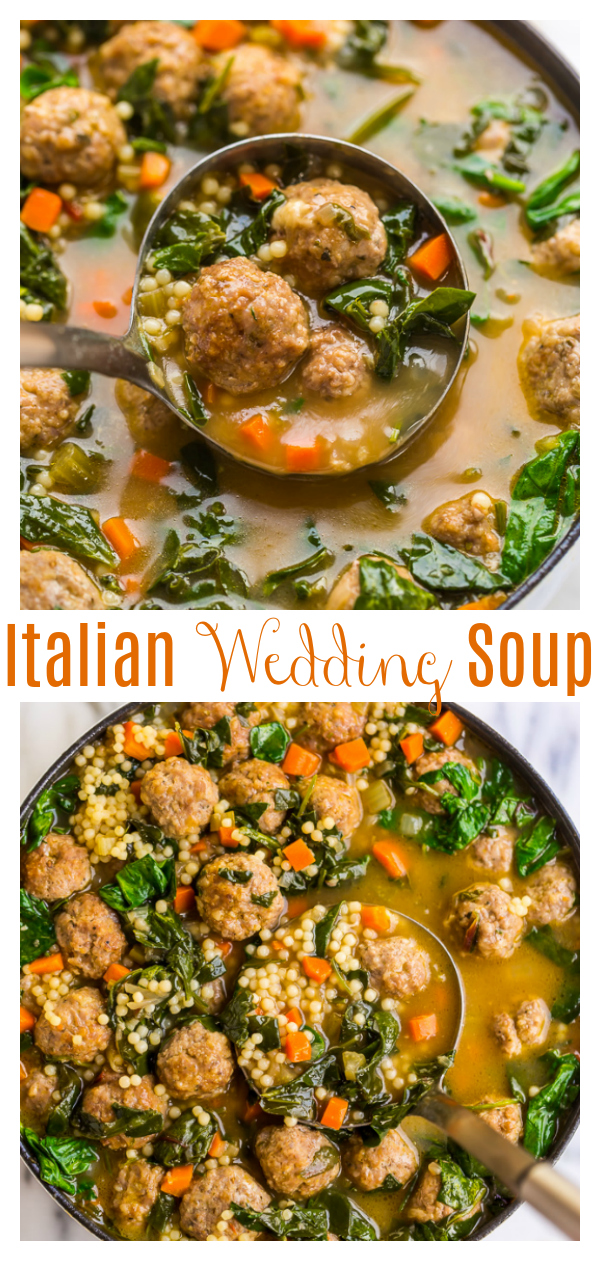 This Italian Wedding Soup Recipe is simply the best! Made with acini de pepe, beef and pork meatballs, carrots, celery, greens, and Parmesan cheese. This soup is SO flavorful! Serve with crusty bread and a glass of wine and enjoy!