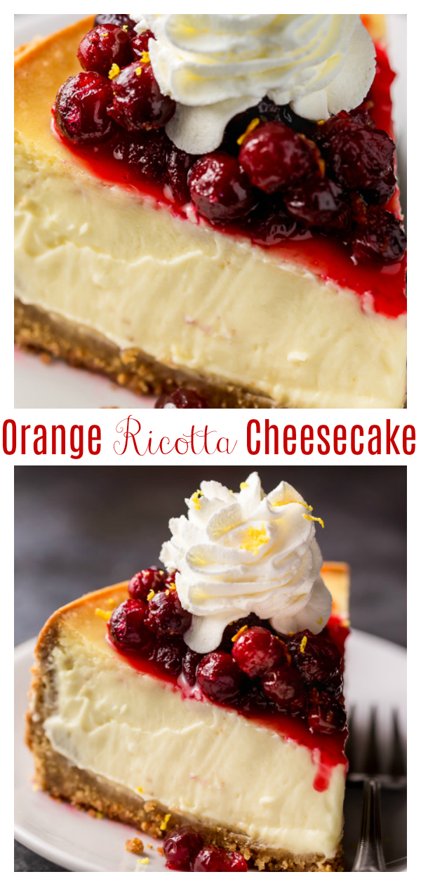 Silky smooth and bursting with flavor, this Orange Ricotta Cheesecake is a total showstopper!!! Top with orange infused cranberry sauce for the ultimate holiday dessert! Bonus: this can be made ahead of time and frozen for up to two months.