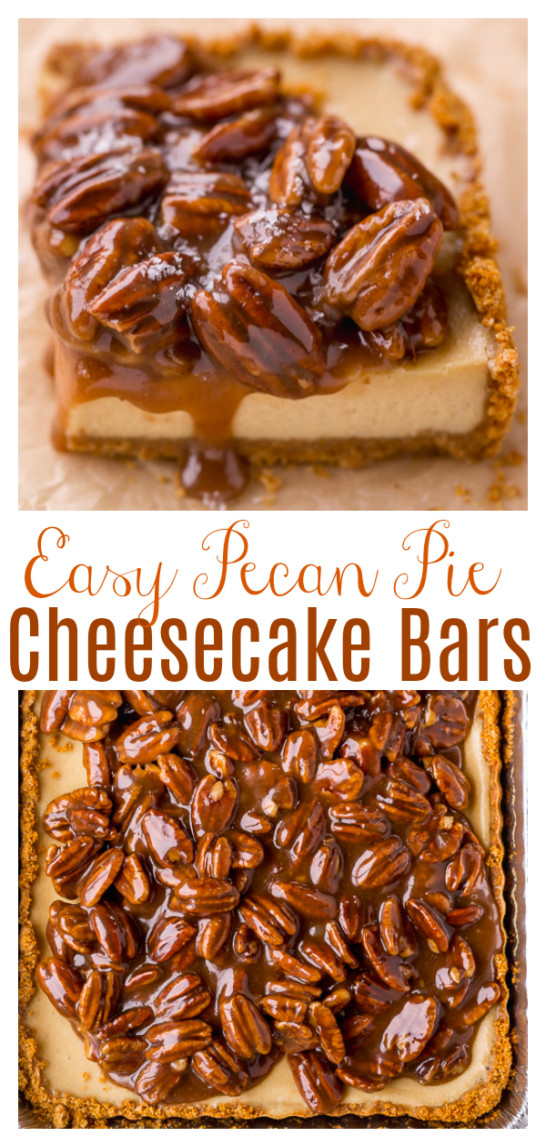 The only thing better than Pecan Pie Cheesecake? Easy Pecan Pie Cheesecake Bars! Featuring a crunchy graham cracker crust, creamy cheesecake filling, and pecan pie filling on top, this dessert recipe is a total showstopper. Perfect for Thanksgiving or Christmas!