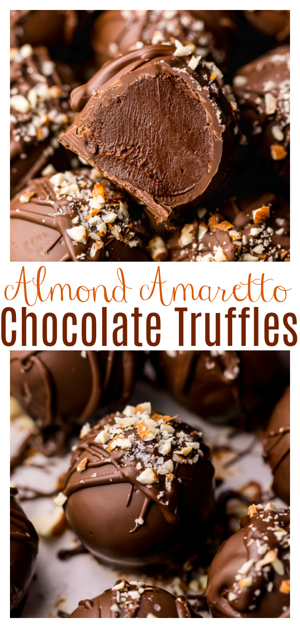 Amaretto Chocolate Truffles are so indulgent and make a fantastic holiday gift! These melt-in-your-mouth chocolate confections are spiked with amaretto liqueur and almond extract, so their busting with almond flavor. Use milk chocolate, dark chocolate, or a combination of both!