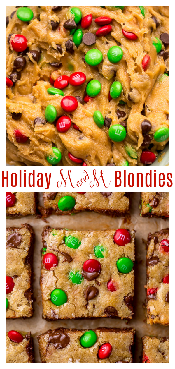 These Super Easy Holiday M&M Blondies are soft, chewy, and so festive! Ready in about 30 minutes, they're a quick and crowd-pleasing dessert option! Perfect for cookie swaps, holiday parties, potlucks, and beyond!