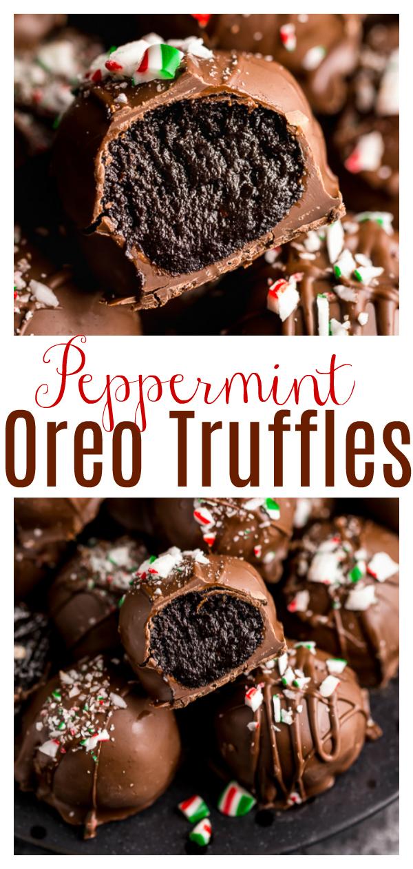 This Easy Peppermint Oreo Truffles Recipe are made with crushed oreos, cream cheese, peppermint extract, and espresso powder. Then they're dipped in melted chocolate and sprinkled with crushed candy canes. They're so pretty will make a great gift!