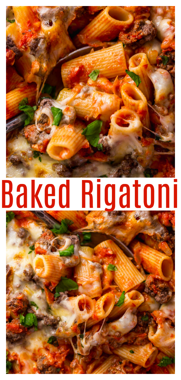 Care to join me as we dive into this CHEESY Baked Rigatoni with Beef?! It's SO easy and loaded with flavor! And it's the perfect recipe to whip up when you're having company, because it seriously serves a crowd!!!