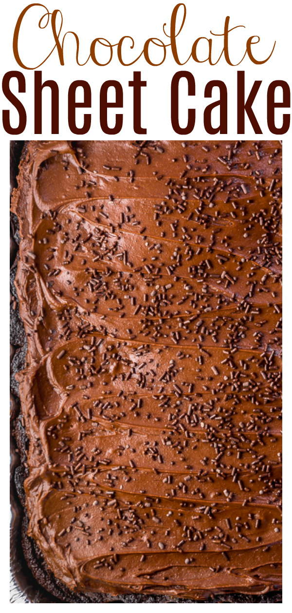 Say hello to the BEST chocolate sheet cake recipe!!! Supremely moist, fudgy, and full of decadent chocolate flavor! But the best part? This cake is so easy!!!