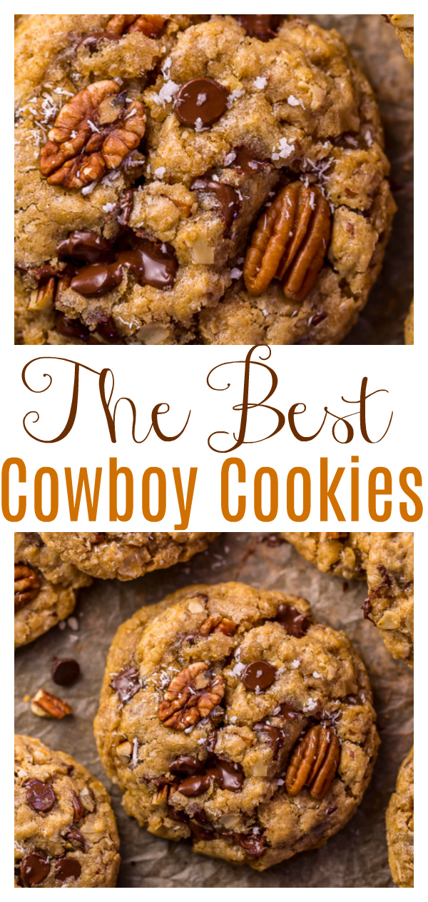 The Best Cowboy Cookies Recipe? THIS IS IT! Featuring coconut, pecans, cinnamon, chocolate, and oats - these cookies are thick, chewy, and so flavorful!