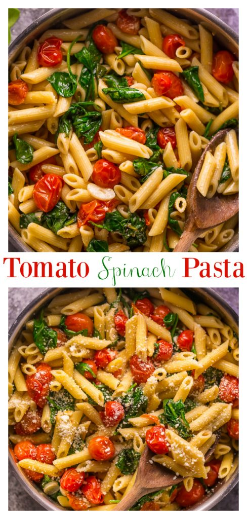 Say hello to my latest dinner obsession: Easy Tomato and Spinach Pasta! Loaded with juicy cherry tomatoes, fresh spinach, olive oil, and a kick of red pepper flakes! This quick and easy pasta recipe is fast, flavorful, and budget friendly!
