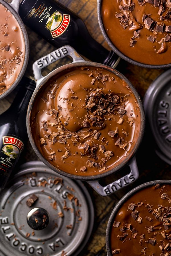 Baileys Irish Cream Chocolate Pudding is thick, creamy, and utterly decadent! The perfect make-ahead dessert to celebrate St. Patrick's Day! To serve, spoon into small serving dishes and top the individual servings with shaved chocolate! #BaileysIrishCreamChocolatePudding #ChocolatePudding #Pudding #IrishCream #Chocolate #Pudding