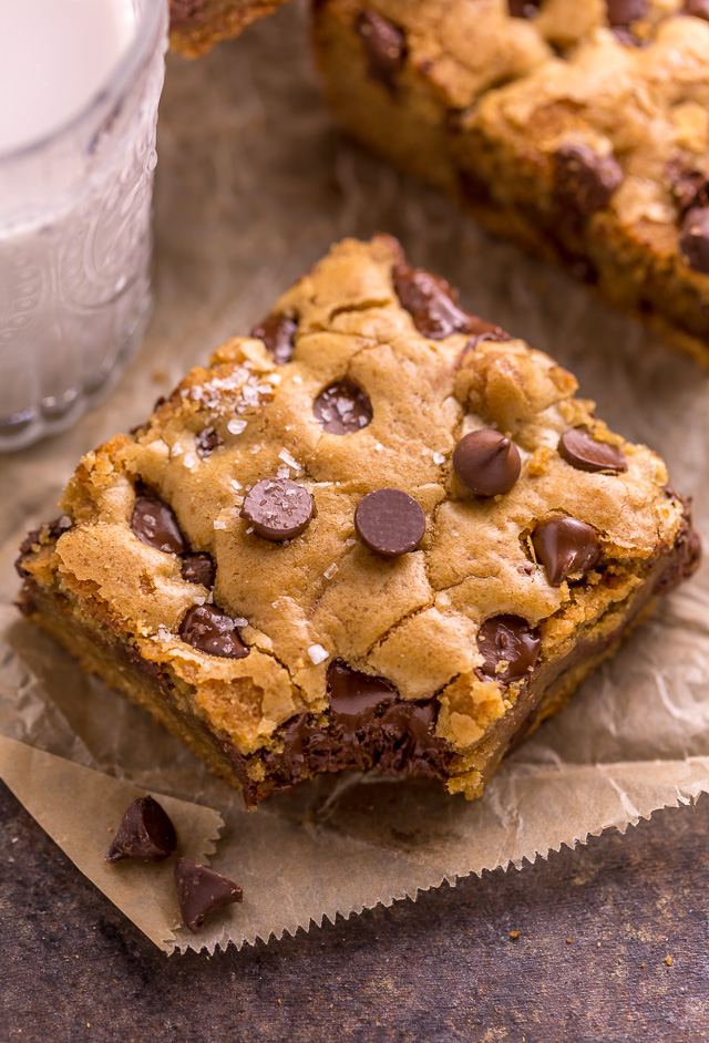 Easy Chocolate Chip Cookie Bars are thick, chewy, and basically foolproof! A great bar recipe that bakes up in less than 30 minutes! If you're serving a crowd, simply double the recipe and bake it in a 9 x 13 pan!