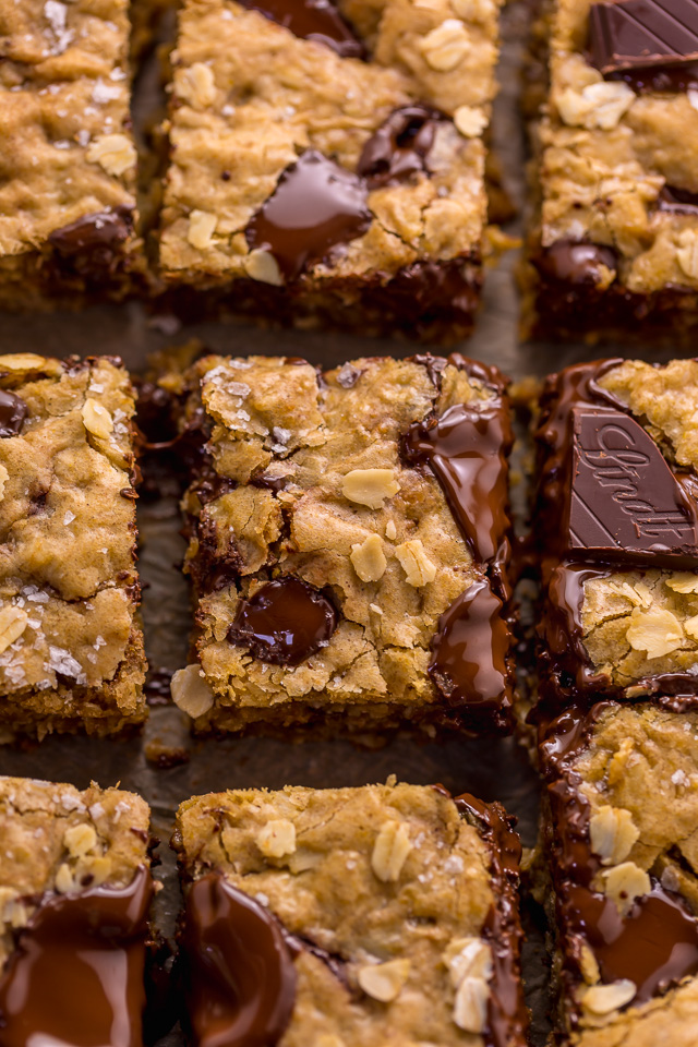 These are the BEST Oatmeal Cookie Bars you'll ever bake! Soft, chewy, and loaded with rolled oats and chocolate, this is a great recipe the whole family will love! Super easy and no mixer required!