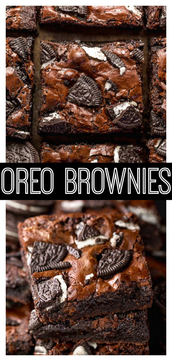 Oreo Brownies are so easy and a MILLION times more delicious than boxed brownie mix! Loaded with rich chocolate flavor, chocolate chips, and plenty of crushed Oreo cookies! Preheat your oven to 350 and bake these brownies today!