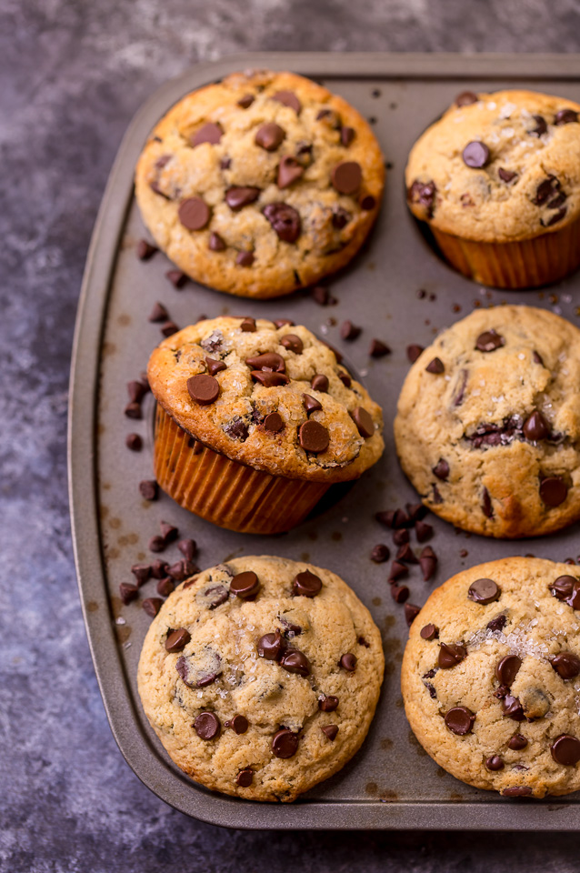 There are literally a million chocolate chip muffin recipes on the internet... but these moist chocolate chip muffins are truly the BEST! And that's not a humblebrag; it's a simple fact! These bakery style muffins come together in a jiffy - no electric mixer required!