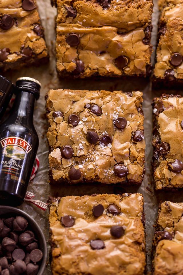 Baileys Irish Cream Chocolate Chip Cookie Bars