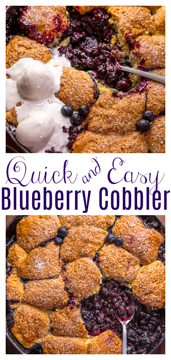 When blueberries go on sale, stock up so you can make this quick and easy blueberry cobbler recipe! Featuring the juiciest blueberry filling and a buttery biscuit topping, this Summer dessert is so good with a scoop of vanilla ice cream on top! While I always prefer to use fresh fruit, this recipe will work with fresh or frozen blueberries!