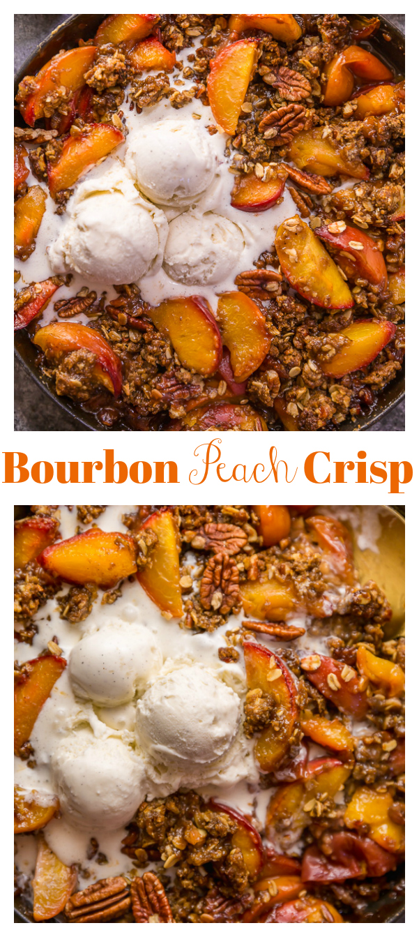 In my humble opinion, the only thing better than peach crisp is BOURBON PECAN PEACH CRISP! Made with brown sugar, fresh peaches, bourbon, and a touch of cinnamon, this is Summer in a baking dish! Serve warm while the fruit is bubbling, with a big scoop of vanilla ice cream on top!