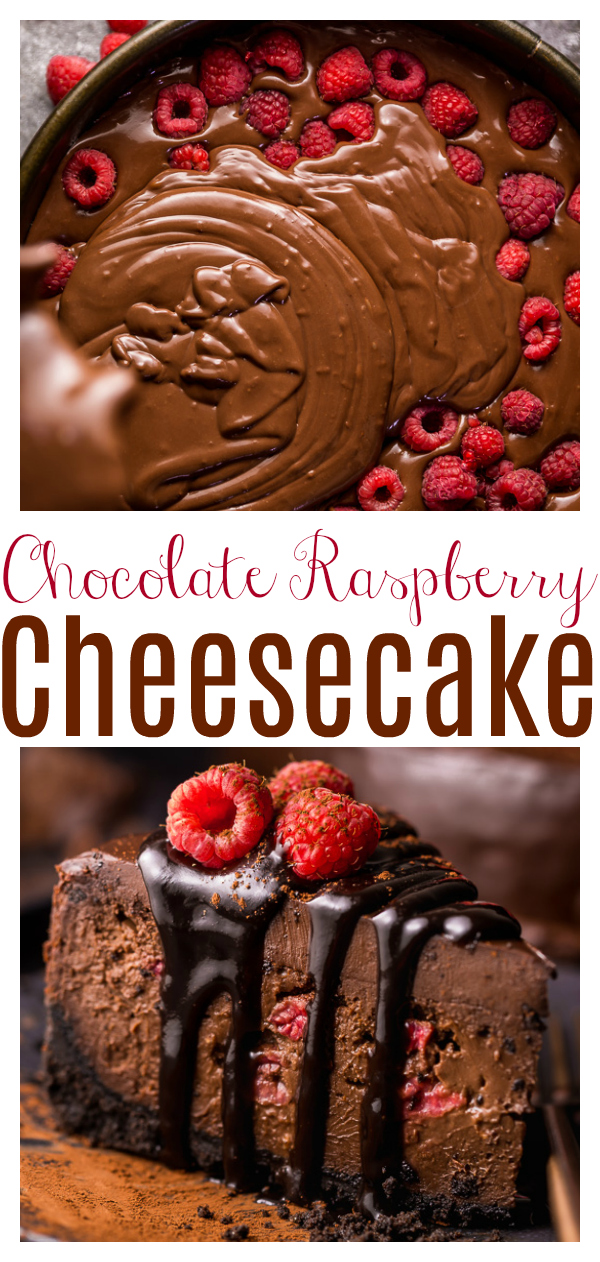 This Dark Chocolate Raspberry Cheesecake is pure decadence! It's not too sweet and but very rich, so a small slice goes far! The fresh raspberry pockets swirled throughout are delightfully refreshing!