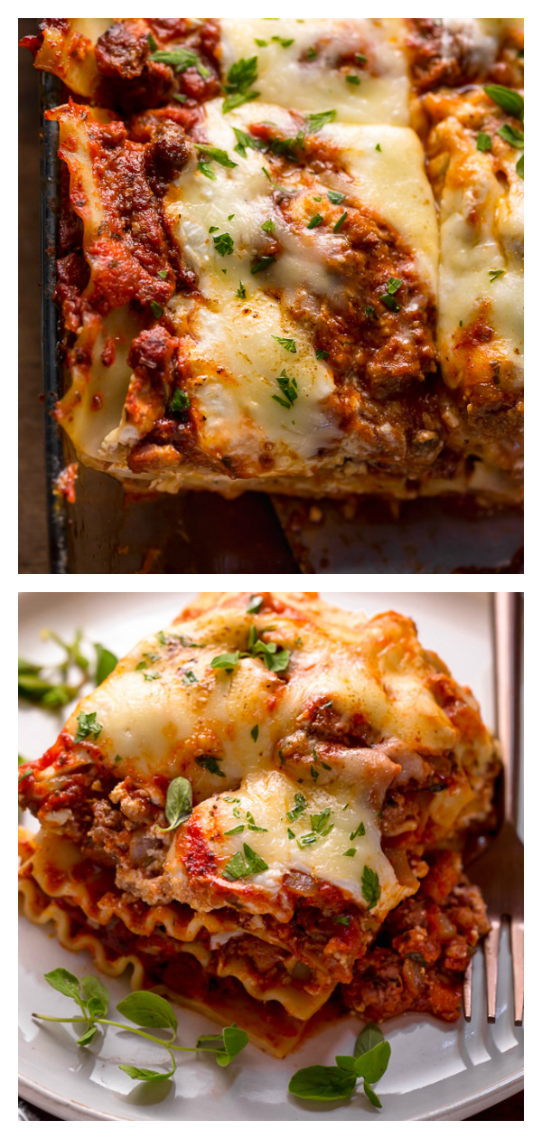The Best Homemade Lasagna Recipe is cheesy, meaty, saucy, and SO delicious!!! And while this recipe requires a bit of work, it can be made ahead of time and stored in the fridge for up to 24 hours before baking. A hearty recipe that's perfect for feeding large groups! #lasagna
