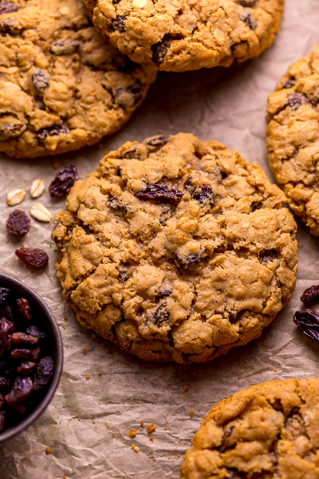 These Soft and Chewy Brown Butter Oatmeal Raisin Cookies are loaded with oats, raisins, and plenty of warm spices! Browning the butter adds TONS of flavor and once you try it, you'll never go back to another method! A great recipe to make anytime of year, but especially popular in our house during the holiday season!