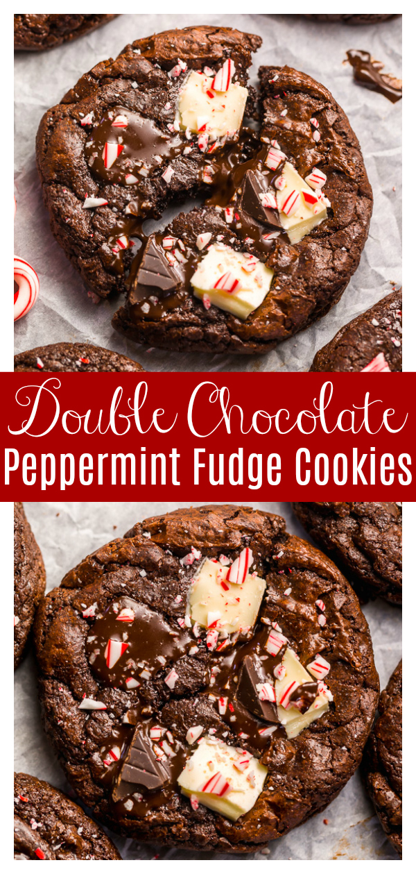 If you enjoy the combination of dark chocolate and perky peppermint, you're going to LOVE these Double Chocolate Peppermint Fudge Cookies! Topped with gooey chocolate chunks, a white chocolate layer, plus crushed candy canes, these cookies are as beautiful as they are delicious! And a must bake this holiday season!