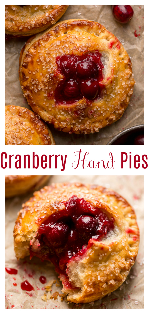 Rustic Cranberry Hand Pies feature a flaky crust and a delicious orange cranberry filling! And their petite handheld size makes them perfect for sharing this holiday season! It's just not Christmas in our house without these on the table!