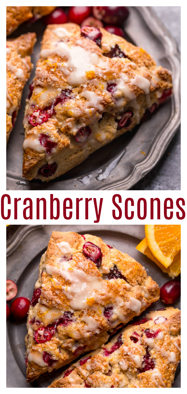 Cranberry Orange Scones are loaded with vibrant orange flavor, fresh cranberries, and topped with a sweet orange glaze! These are so festive and perfect for breakfast or brunch. And one of my favorite scone recipes to make during the holiday season!
