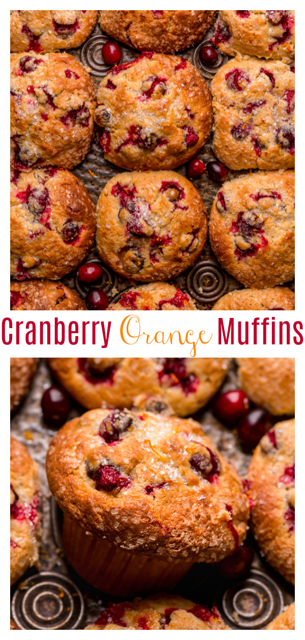These festive Cranberry Orange Muffins feature fresh cranberries, fresh orange juice, and a touch of orange zest! Frozen cranberries can be used, but I don't suggest using dried cranberries. Bust out your muffin pan and treat yourself to a batch today!