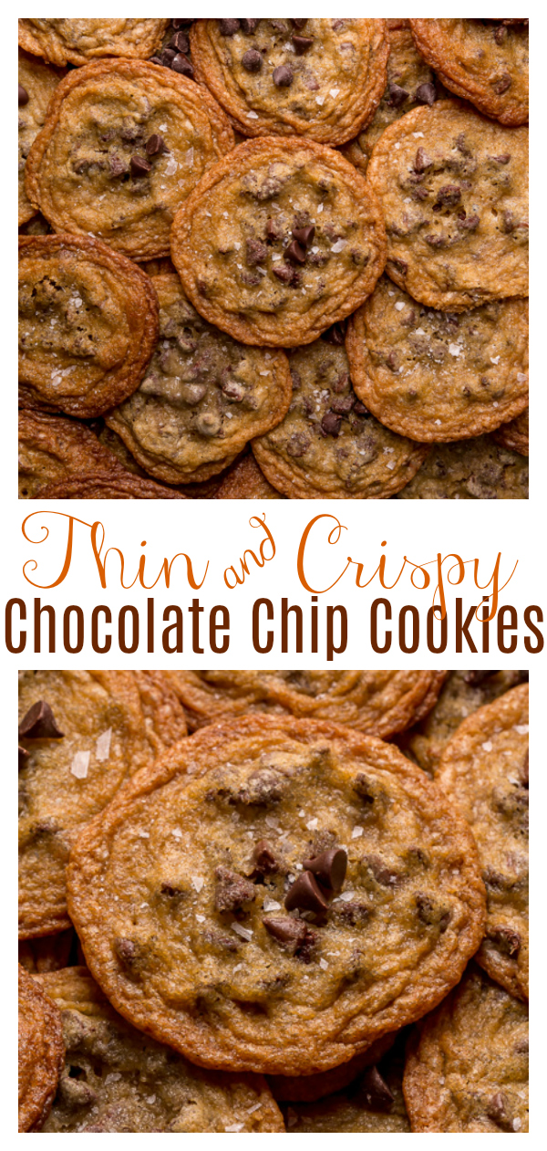 Bust out your cookie sheet, because these thin crispy chocolate chip cookies are a must bake! These cookies bake up golden brown and smell like heaven! Super thin and delightfully crisp, these are one of our favorite chocolate chip cookie recipes!