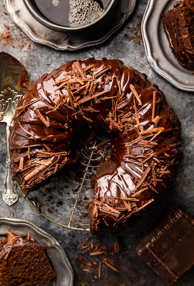 This Super Moist Chocolate Bundt Cake is always a crowd-pleaser! Loaded with rich chocolate flavor and covered in decedent chocolate ganache and shaved chocolate curls, this one is definitely a dessert for chocolate lovers only. So much easier than making a layer cake!