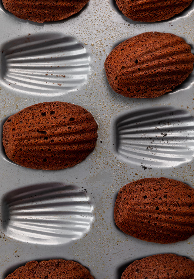 My Double Chocolate Madeleines are fluffy, cakey, and perfect for dunking in tea or coffee! A sweet treat that's sure to please the chocolate lovers in your life! So bust out your madeleine pan and let's get baking!
