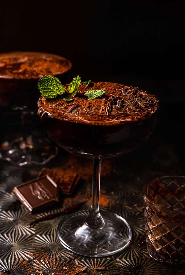 Chocolate lovers will go crazy for this decadent Homemade Chocolate Martini Recipe! Made with a homemade chocolate syrup instead of chocolate liqueur, they're not too sweet and won't give you a stomach ache after one sip! Garnish the martini glasses with cocoa powder, chocolate curls, or a sprig of fresh mint!