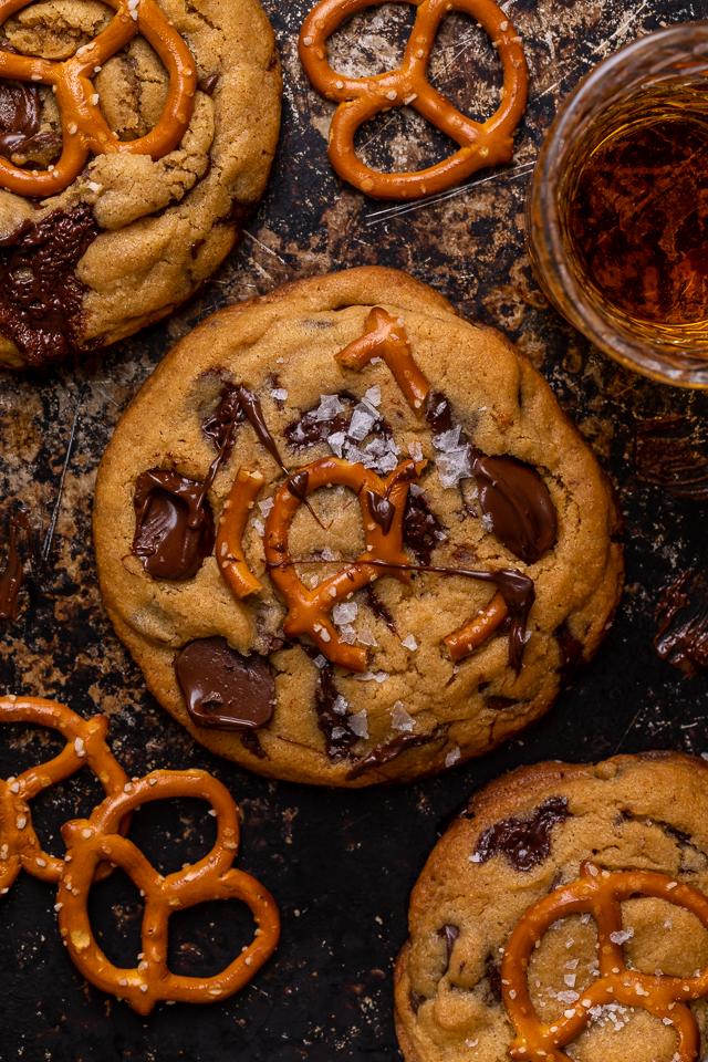 Salted Pretzel Peanut Butter Bourbon Chocolate Chip Cookies