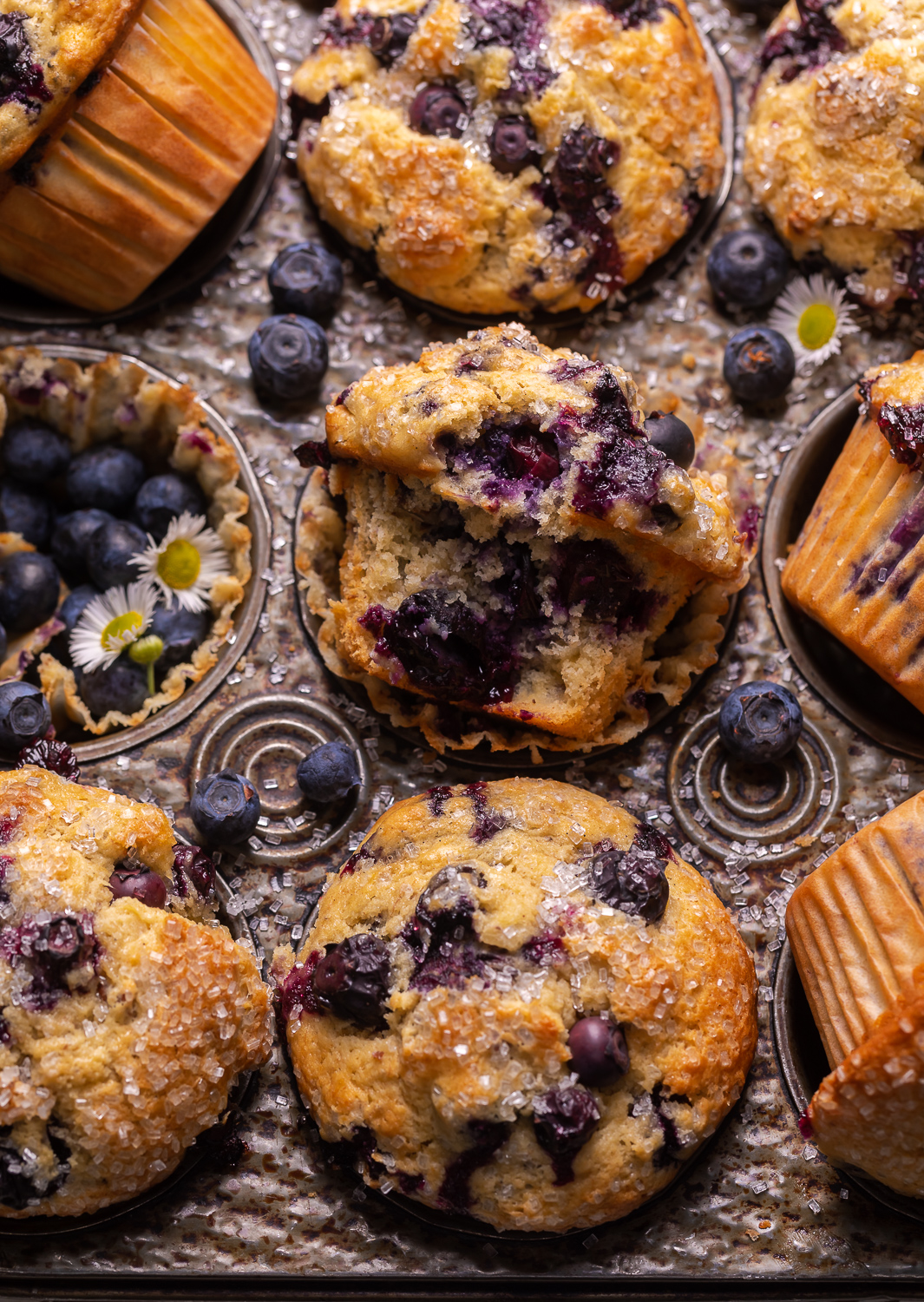 Not too sweet and delightfully moist, these Banana Blueberry Muffins are the perfect breakfast treat! Fresh blueberries work best, but frozen blueberries will work in a pinch. Be sure to fill the muffin cups all the way up to the top for giant domed muffin tops!