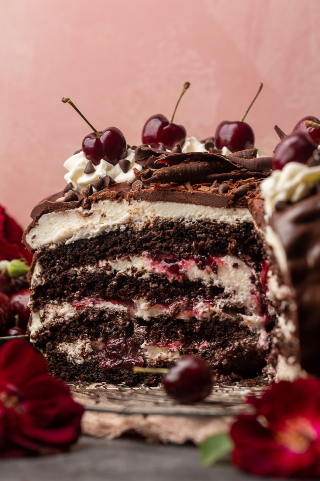 Featuring moist chocolate cake layers, a fresh cherry filling, and a light whipped cream frosting, my mile-high Black Forest cake is a total showstopper! Make it even more stunning by garnishing with mini chocolate chips pressed up the side of the cake, and chocolate shavings and fresh cherries on top. Beautiful, delicious, and surprisingly easy, this cake is sure to be the star of your dessert table!